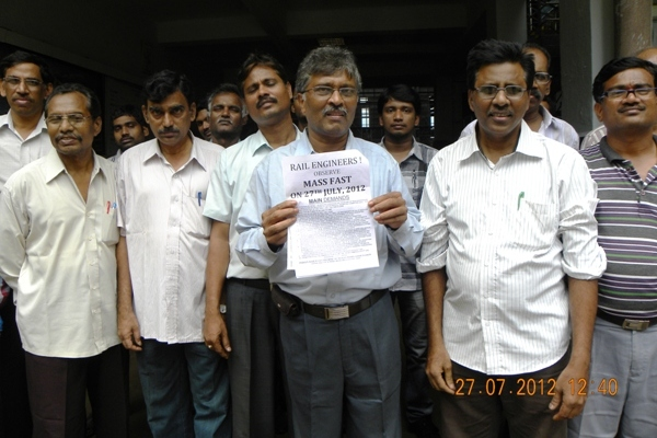 IRTSA Mass Fast and Demonstration on 27th July, 2012 at ELS, Vijaywada