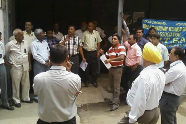 IRTSA Holds Protest Day at Kalka Workshop